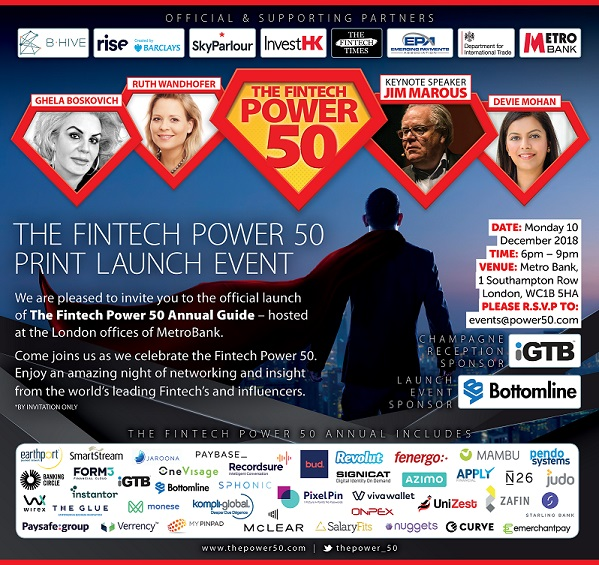 The Fintech Power 50 Print Launch Hosted by Metro Bank